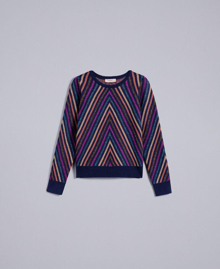 Pullover aus Lurexjacquard mit mehrfarbigem Streifenmuster Jacquard Blau / Lurexstreifen Frau TA838C-0S