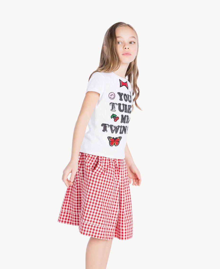 """T-shirt paillettes Blanc """"Papers"""" Enfant GS82RA-03"""