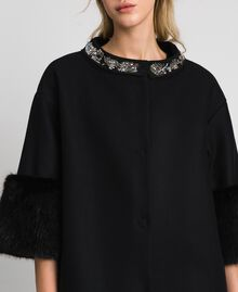 Embroidered coat with faux fur details Black Woman 192TT2162-04