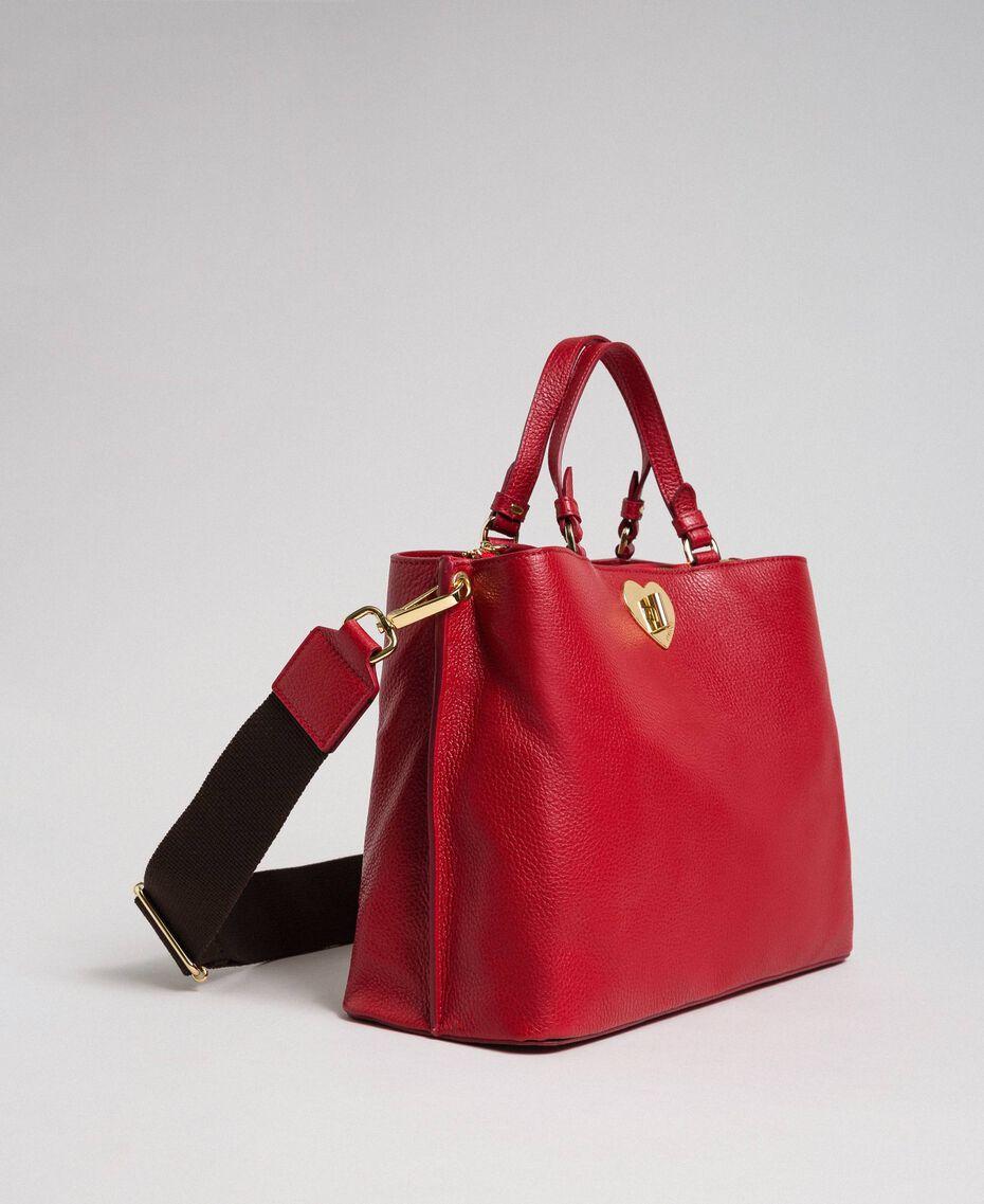 Borsa shopper piccola in pelle con tracolla Rosso Veneziano Donna 192TO8091-02