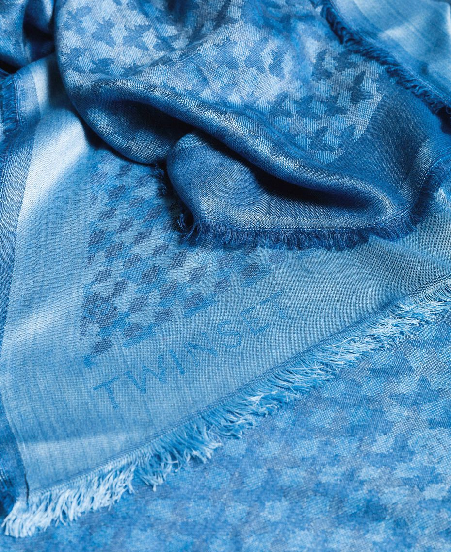 Jacquard keffiyeh with butterflies Deep Blue Butterflies Jacquard Woman 191TA436D-03