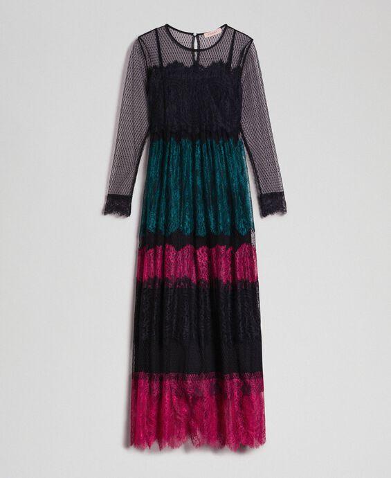 Robe longue en dentelle color block
