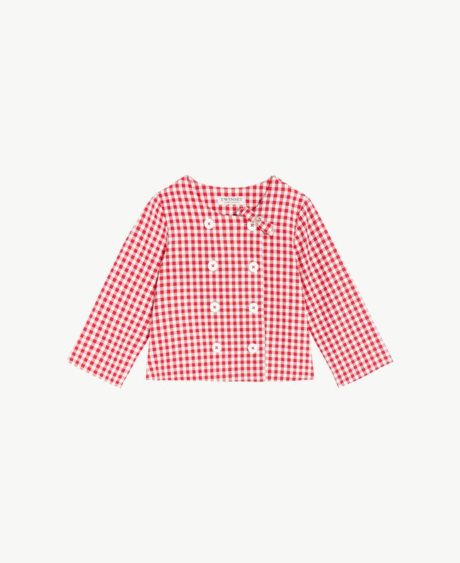 Gingham jacket Gingham / Pomegranate Red Jacquard Child GS82ZA-01