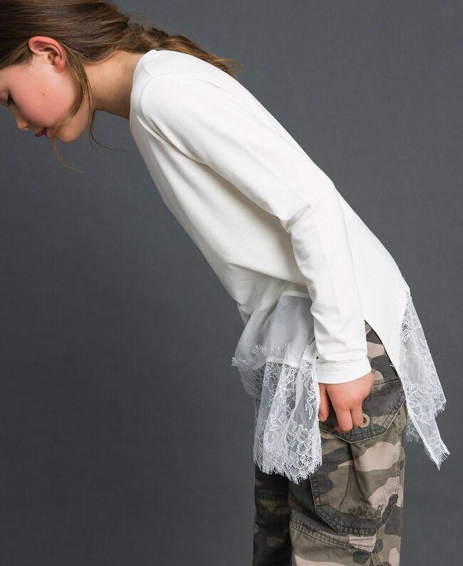 Maxi t-shirt avec détails en crêpe georgette et dentelle Chantilly Enfant 192GJ2468-03