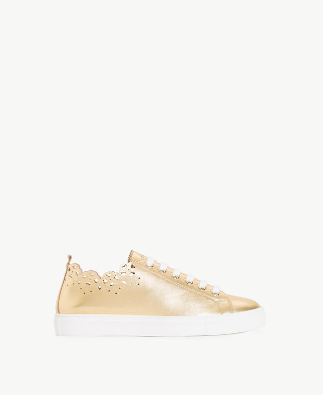 TWINSET Scalloped sneakers Gold Yellow Woman CS8TF1-01