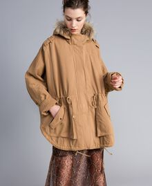 Cotton drill cape Camel Woman PA82L6-02