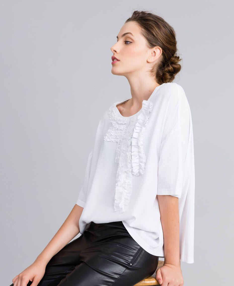 Blouse en soie et jersey avec ruches Blanc Femme PA82DC-02