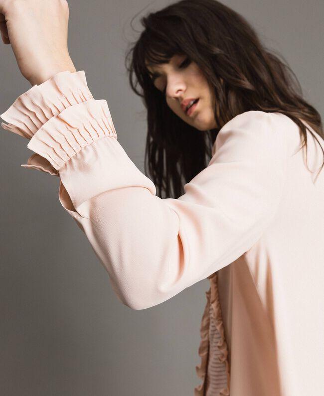 Rüschen-Hemd aus Seide-Mix Blütenknospenrosa Frau 191TP2134-04