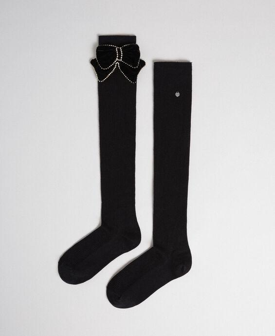 Chaussettes hautes avec nœud amovible
