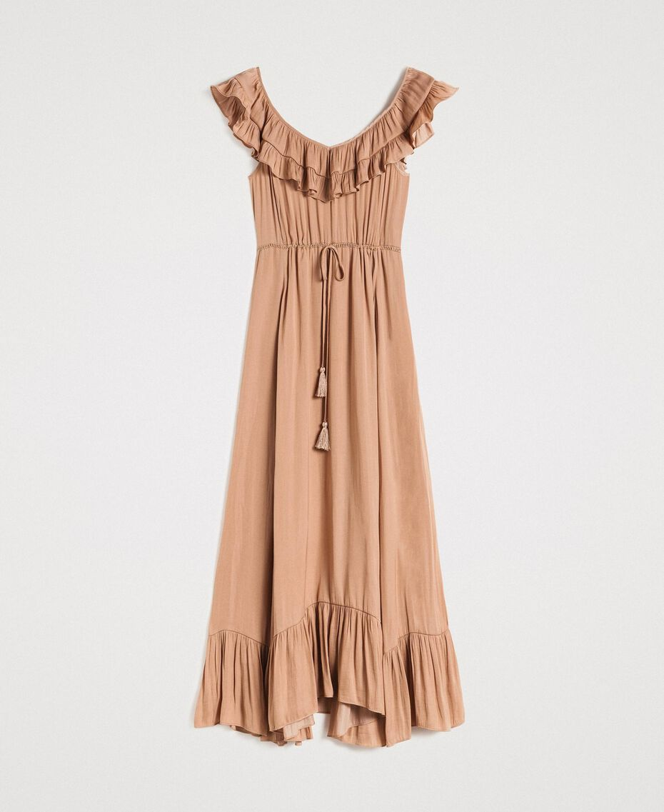 "Long dress in flowing glossy fabric ""Petra Sandstone"" Brown Woman 191LM2GAA-0S"
