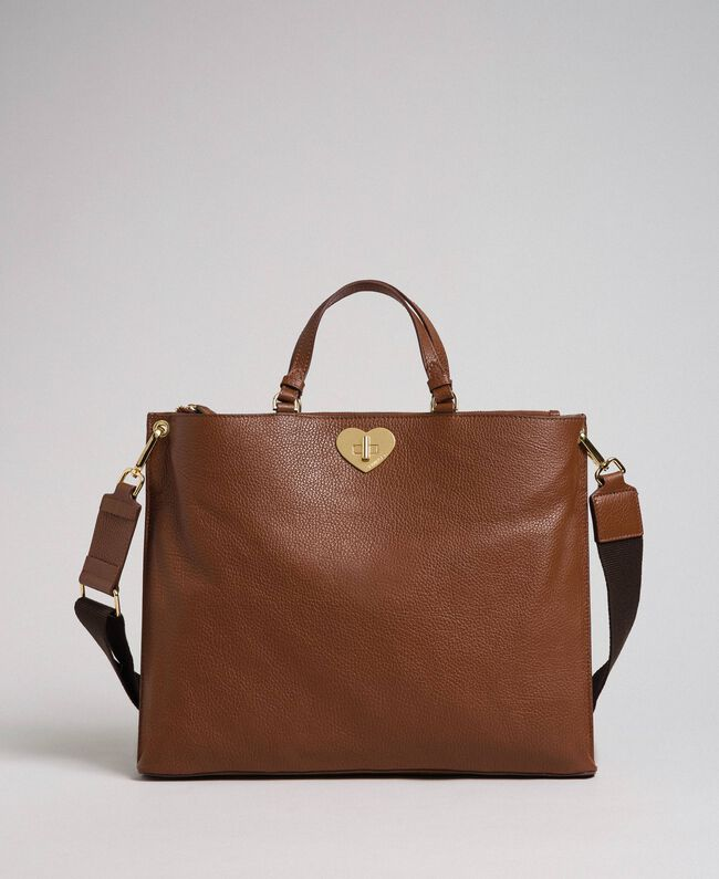 Large leather shopping bag with shoulder strap Leather Brown Woman 192TO8090-03