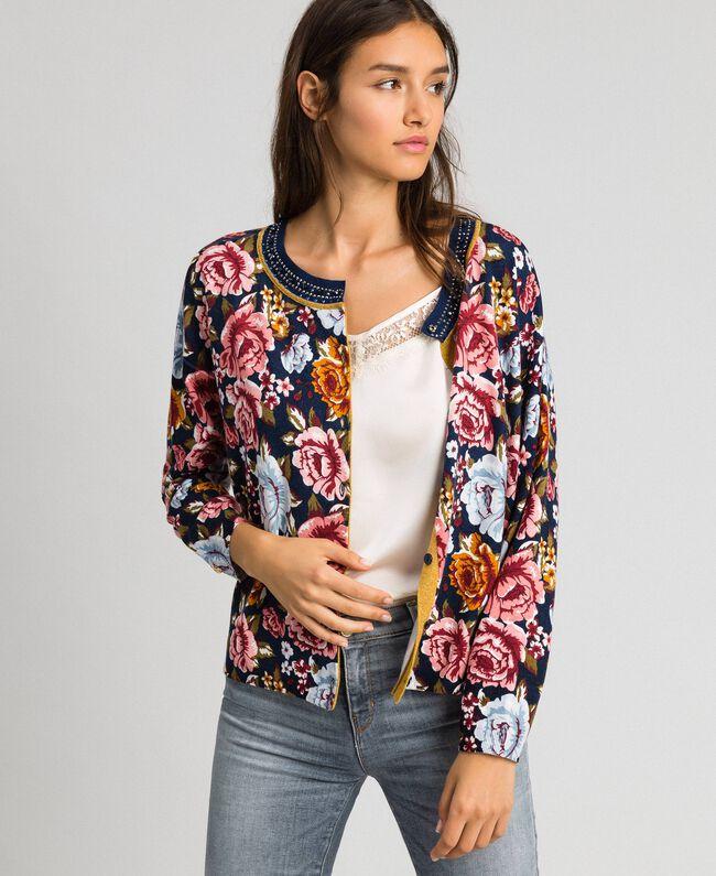 Dual use boxy jumper with rhinestones Black / Lily Animal Print Woman 192MP3230-04