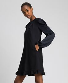 Dress with satin inlays and frill Black Woman 192ST2131-02