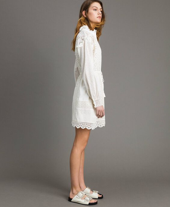 Broderie anglaise and ruffle dress