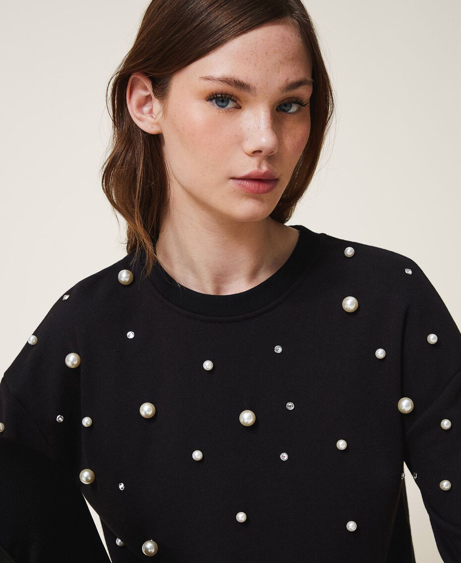 Sweatshirt with pearl embroidery Black Woman 202TT2T51-01