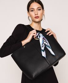 Faux leather shopper with scarf Black Woman 201MA7080-0S