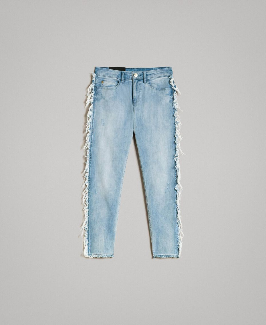 Skinny jeans with fringes Denim Blue Woman 191MT2434-0S