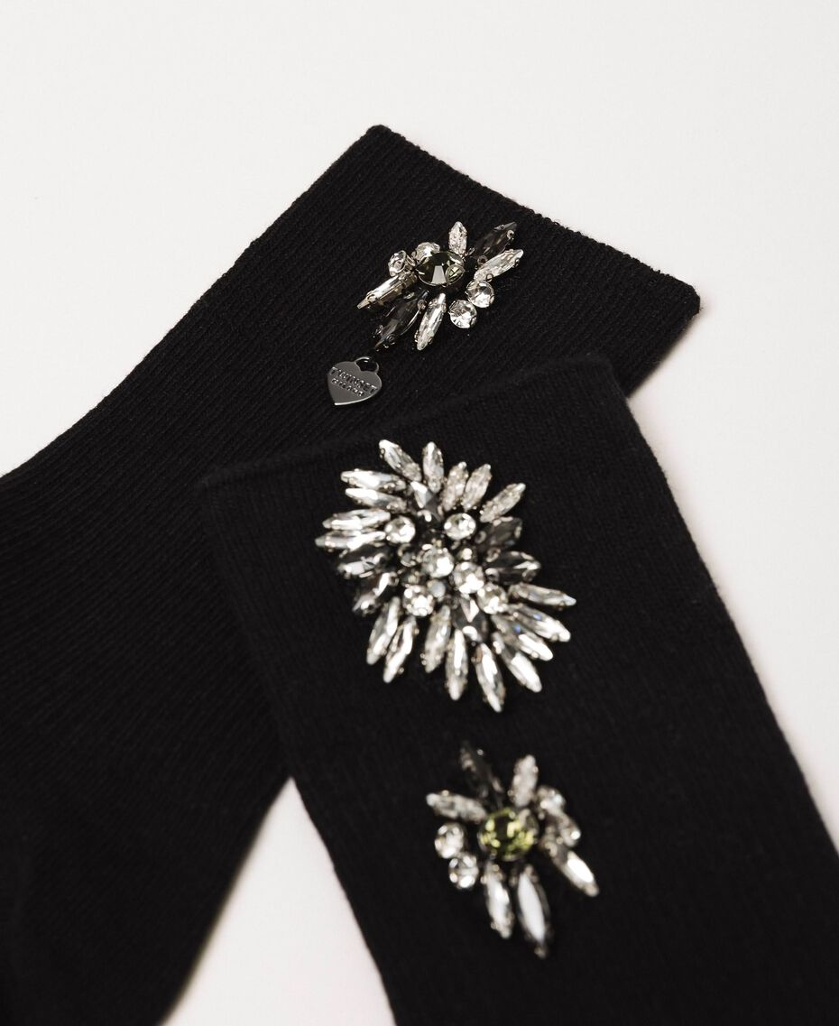 Short socks with floral embroidery Black Woman 201TA4416-02