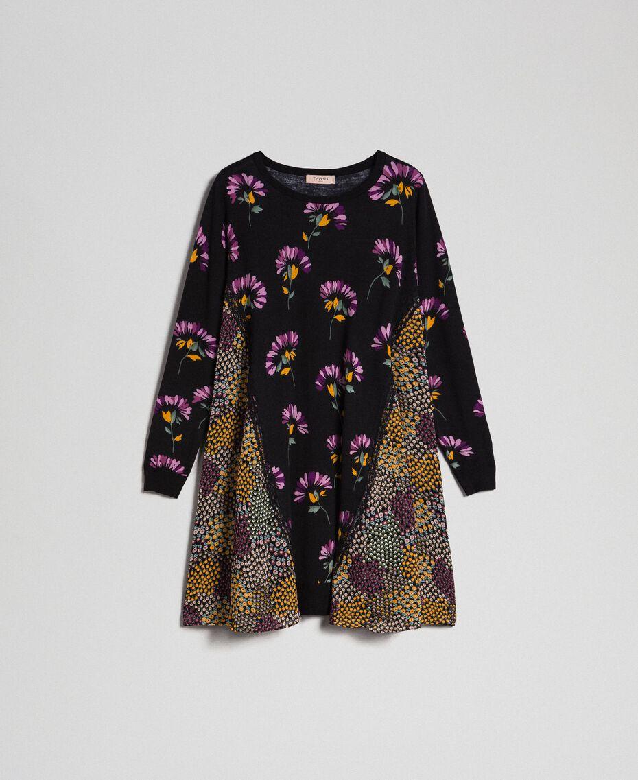 Robe en maille imprimée avec insertions Imprimé Camouflage Femme 192TT3341-0S