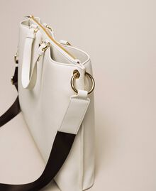 Large leather shopper with heart White Snow Woman 201TA7052-03