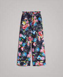 Pantalon palazzo avec imprimé floral Imprimé Fleur Multicolore Noir Total Femme 191MT2293-0S