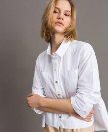 Chemise en popeline avec poches Blanc Femme 191LL23LL-03