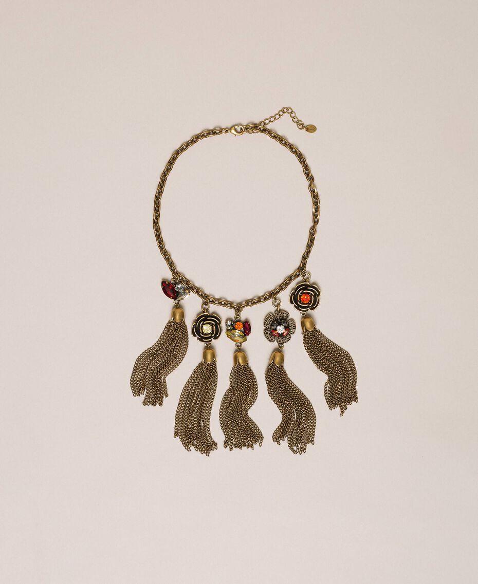 Collier avec charms floraux et pompons Or «Laiton Vieilli Cuivré» Femme 201TA430M-01