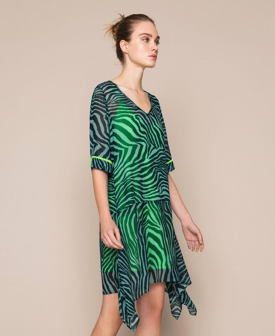 "Georgette animal print dress ""Atlantic Deep"" Green Zebra Print Woman 201LB2GGG-02"