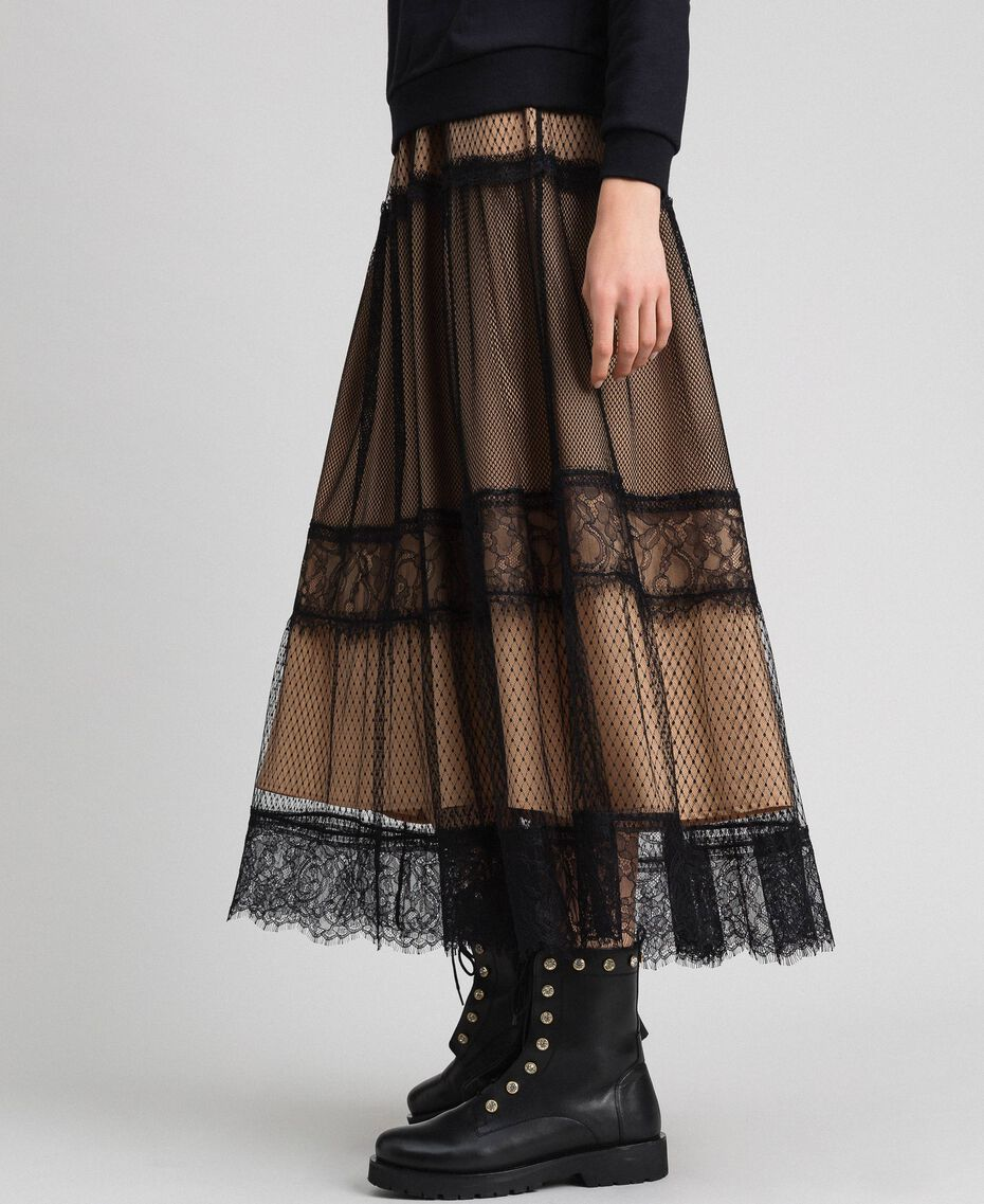 Gonna in tulle, pizzo Valenciennes e plumetis Bicolore Nero / Nudo Donna 192TP2333-02