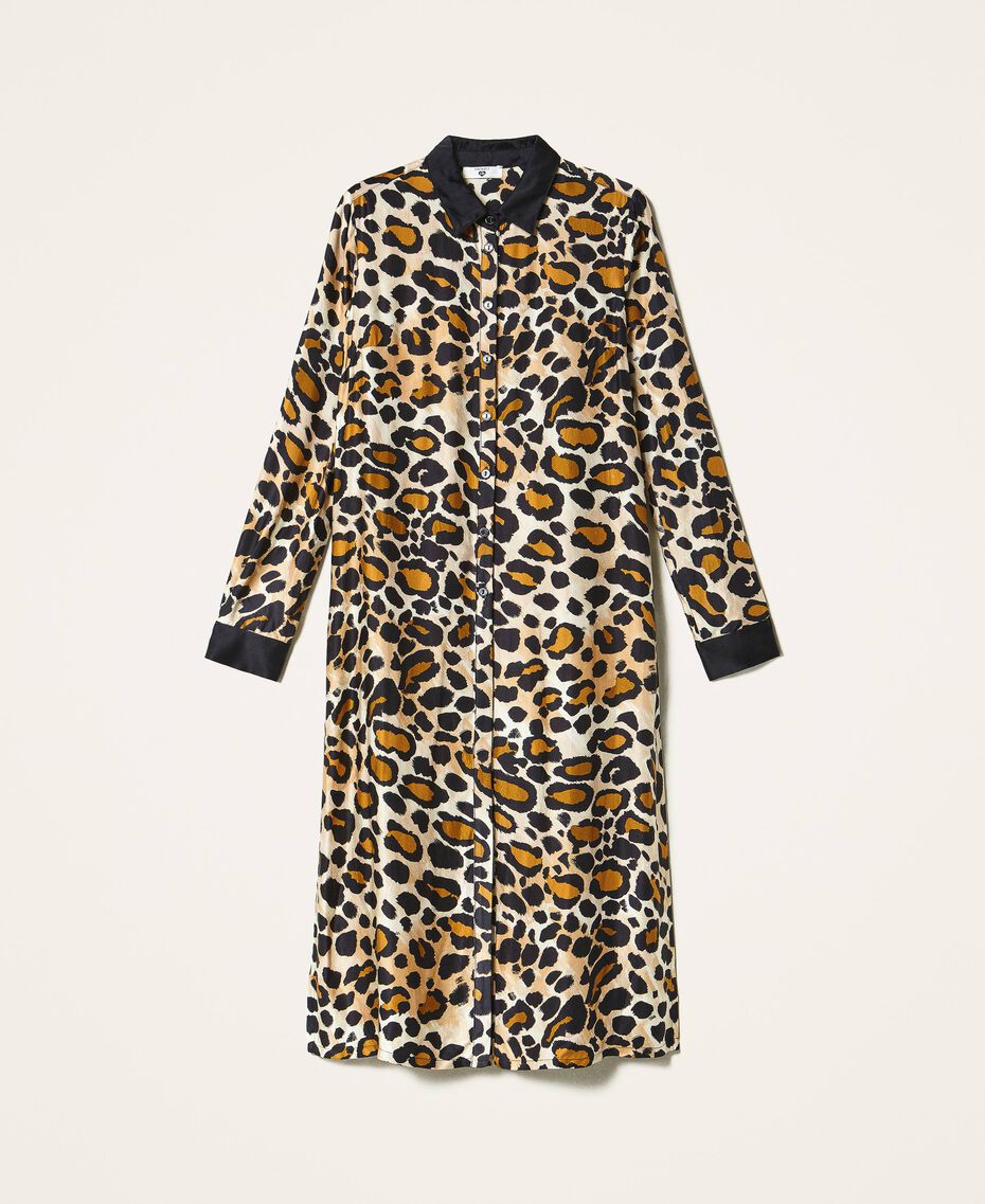 Shirt dress made of animal print satin Animal Print Woman 202LL2EGG-0S