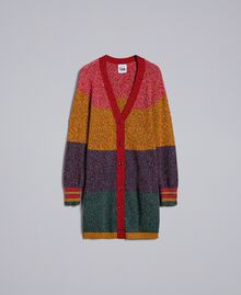 Maxicardigan aus Moulinégarn in Color-Block-Verarbeitung Mehrfarbiger Mouliné Frau YA831A-0S