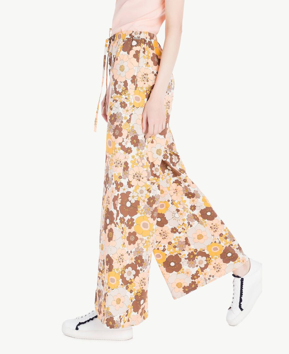 "Printed palazzo pants Flat Flower Print ""Rope"" Beige Woman SS82PF-02"