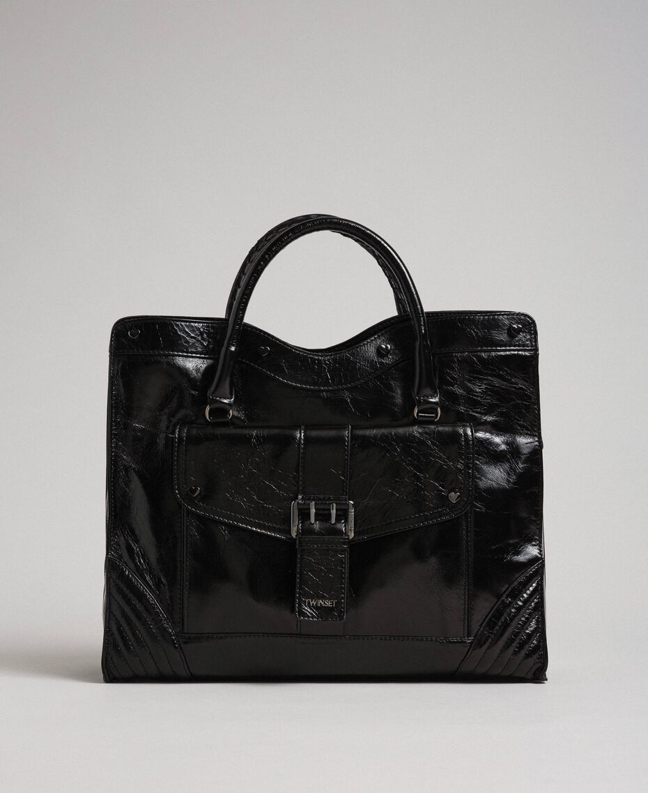 Leather shopper with decorative buckle Black Woman 192TO7235-02