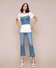 Top bustier en jean Bleu Denim Femme 201MP2279-0T