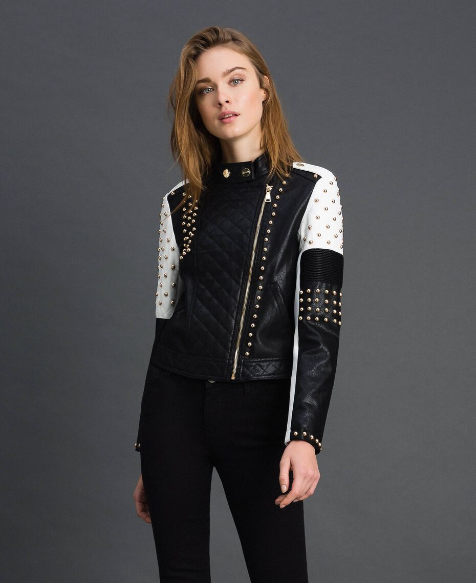Faux leather biker jacket with studs Two-tone Black / Lily Woman 192MT2040-01