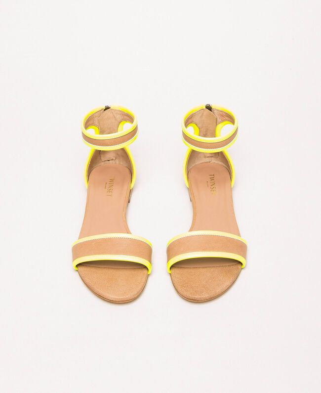 """Patent leather and leather flat sandals Two-tone """"Desert"""" Beige / Fluo Yellow Woman 201TCP014-04"""