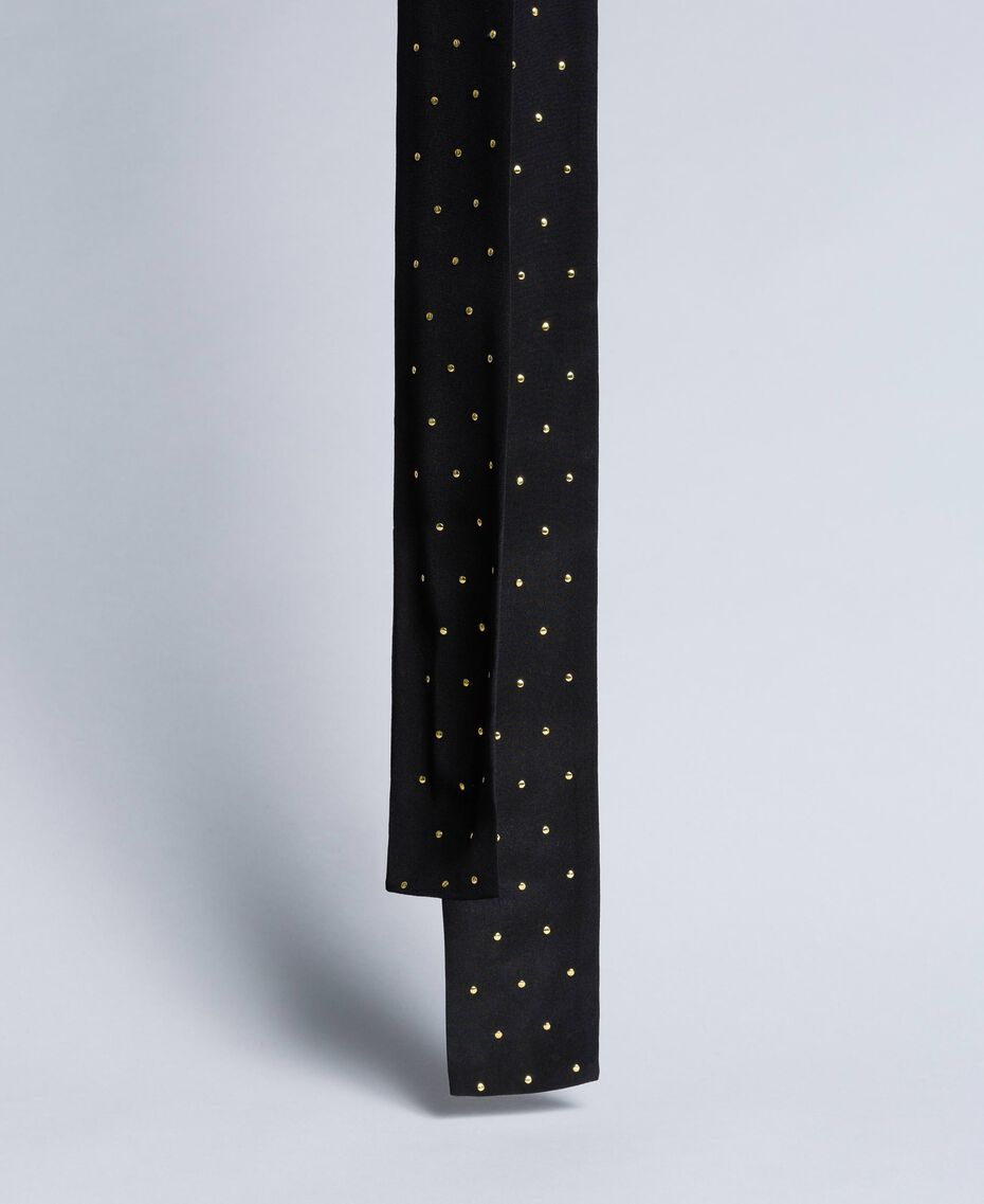 Silk studded scarf Two-tone Black / Gold Woman AA8P17-02