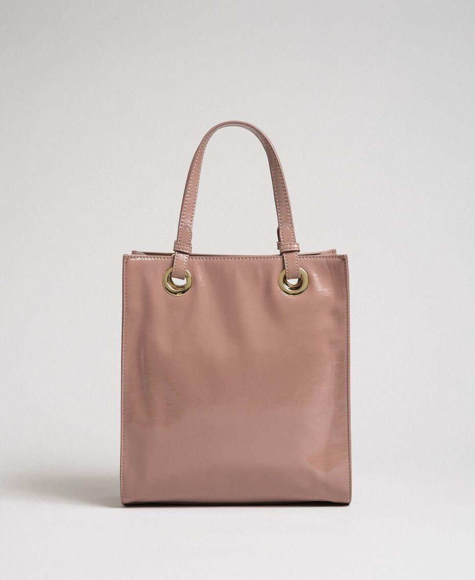 Kleiner Shopper aus glänzendem Lederimitat Puderrosa Frau 192TA7171-03