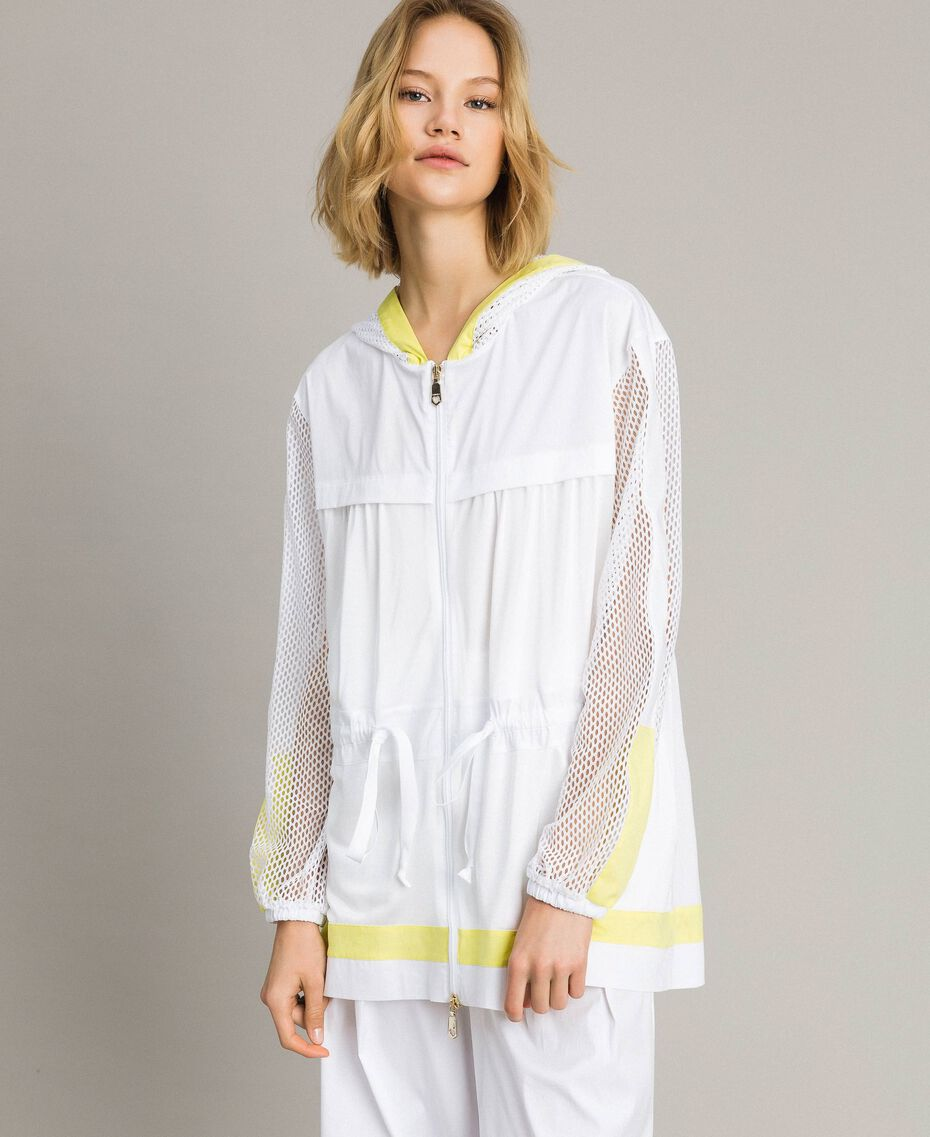 Poplin and mesh parka White Woman 191LL23FF-02