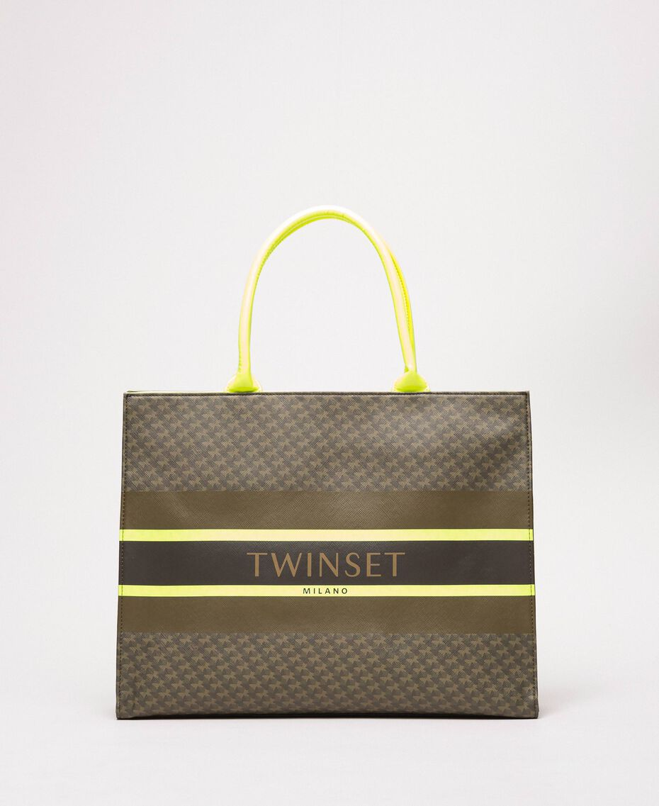 """Butterfly print faux leather shopper """"Camouflage"""" Green Butterfly Print / Fluo Yellow Woman 201TA7240-01"""
