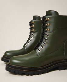 Tie-up leather combat boots Dark Olive Green Woman 202TCP182-03