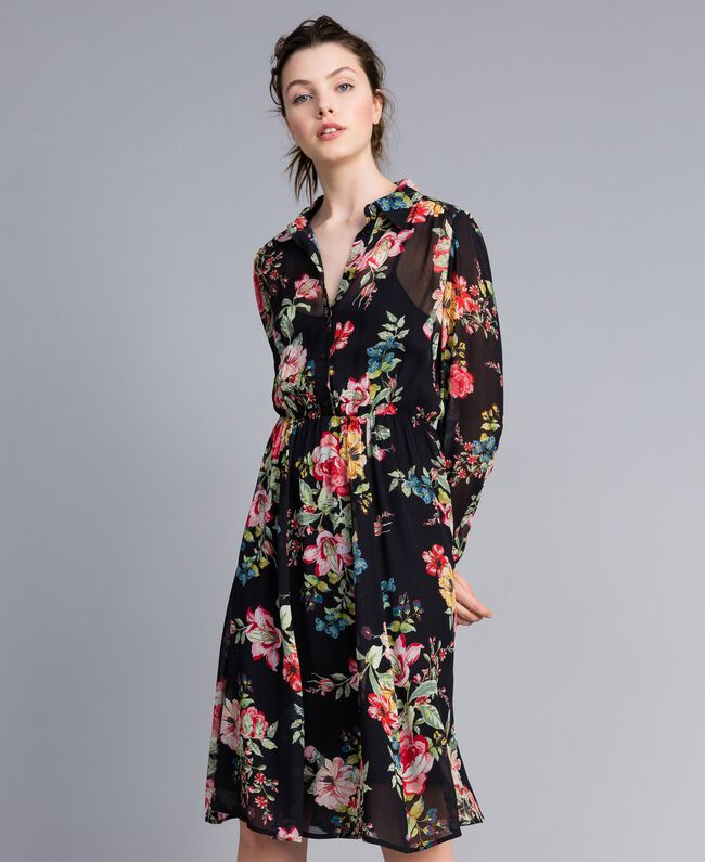 Floral print georgette dress Roses and Lilies Print Woman PA82MF-01