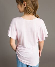 "Striped jersey maxi T-shirt with rhinestones ""Crystal Pink"" Melange Child 191GJ2721-04"