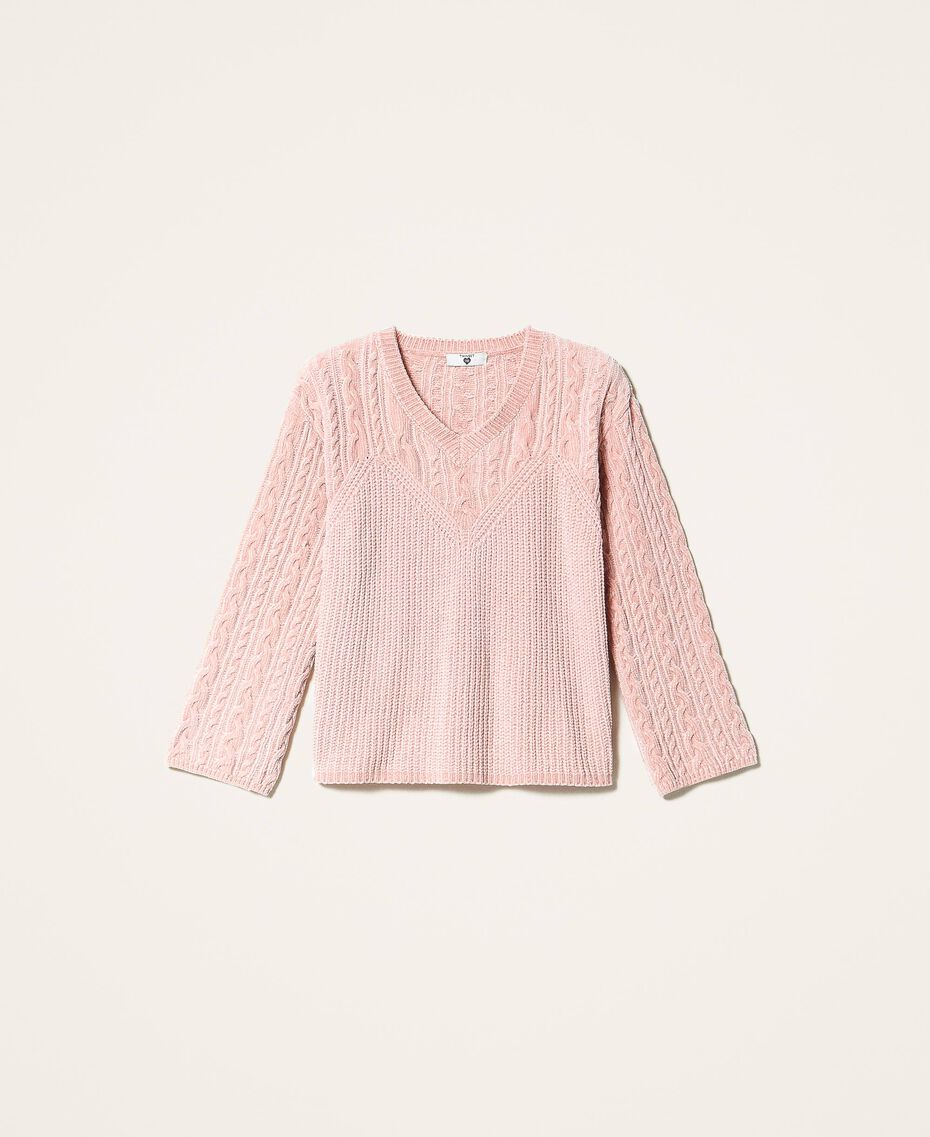 "Cable knit chenille jumper ""Peach Powder"" Pink Woman 202LL3GSS-0S"