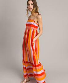 Robe longue en popeline à rayures multicolores Imprimé Multicolore Grenadine Femme 191TT2411-03