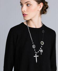 Halskette mit Chatons und Strass Zweifarbig Schwarz / Kristall Frau AA8P8A-0S
