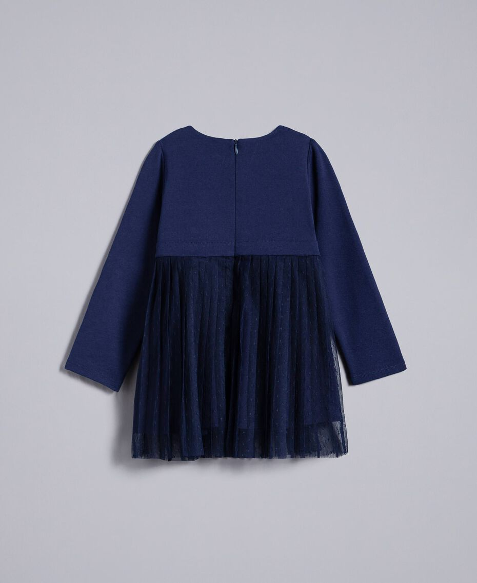 Tulle plumetis dress Blackout Blue Child FA82QN-0S