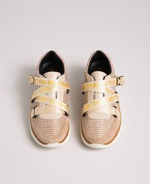 """Faux leather and mesh running shoes """"Pale Pink"""" Woman 192MCT130-05"""