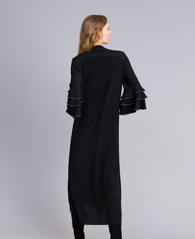 Long silk blend dress with rhinestones Black Woman TA8233-03