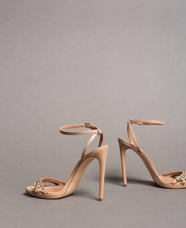 Leder-Sandalen mit Strasssteinen Nudebeige Frau 191TCT012-04